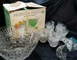 Vintage Anchor Hocking Clear Arlington Pattern 26-pc Punch Bowl Set, cir... - $58.50