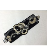 Bracelet Wide Cuff Style Asymmetric Bead Embroidered Black Silver Natura... - $85.00