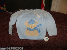 The Children's Place Puppy w/Scarf Blue Sweater Size 18 months Boy's NEW HTF - $17.94