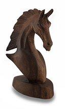 Zeckos Right Facing 9 Inch Mahogany Horse Head Bust Wooden Statue - $19.79