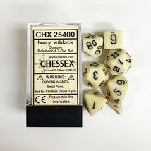 Chessex Opaque Ivory w/ Black Numerals 7-Die Set + Storage Box - $9.41