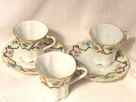 Eggshell Porcelain Nippon Chocolate Cups 3 and 2 Saucers Pre WWII - $11.99