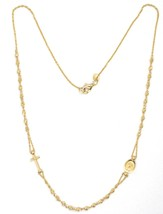 NECKLACE ROSARY YELLOW GOLD 750 18K, MEDAL MIRACULOUS CROSS, SPHERES YOU WORK image 1