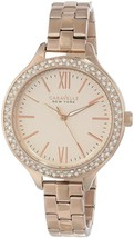 Caravelle New York Women's 44L125 Swarvoski Crystal Rose Gold Tone Watch - $141.07