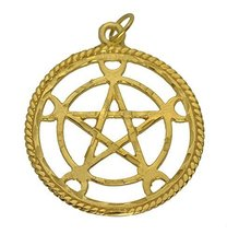 24K Gold Plated Crescent Moon Goddess purity Pentacle elemental spirit Charm - $53.18