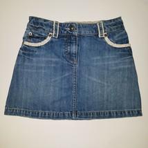 Mini Boden Short Denim Skirt Button Flap Rear Pockets Girls Size 7-8Y - $13.81
