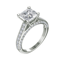 14k White Gold Over 925 Solid Silver Womens Princess Cut Diamond Engagement Ring - £55.48 GBP