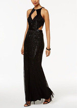 Adrianna Papell Beaded Halter Gown with Cutout Neck and Waist - $79.19+