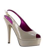 "Johnathan Kayne Natalia Taupe Nude Patent 4"" High Heel Pump Pageant Prom... - €59,43 EUR"