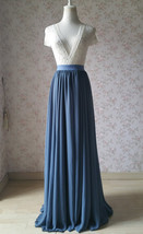 Women DUSTY BLUE Chiffon Maxi Skirt High Waist Maxi Chiffon Wedding Skirt image 2