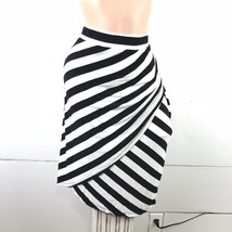 Ava & Viv Plus size Skirt Sz 4X Black White Striped Jersey Stretch Overlapping - $12.61