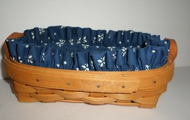 "Longaberger Small Oval Cracker Basket Cloth Liner 1998 Leather Handles 8"" Long - $11.88"