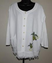 Cottonseed Wear Turtle Art Button Front Top Gauze Cotton Size: XL