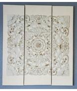 Madison Park Raised Resin Medallion Canvas Wall Art 3-Piece Set Distress... - $98.99