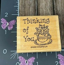 Stampin Up! Rubber Stamp Thinking Of You 1998 Flowers Pot Plant #B43 - $1.98