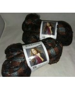 LW2785 Ribbons 2 Balls of Yarn Red Heart Boutique Marble Brown Black Gra... - $12.99