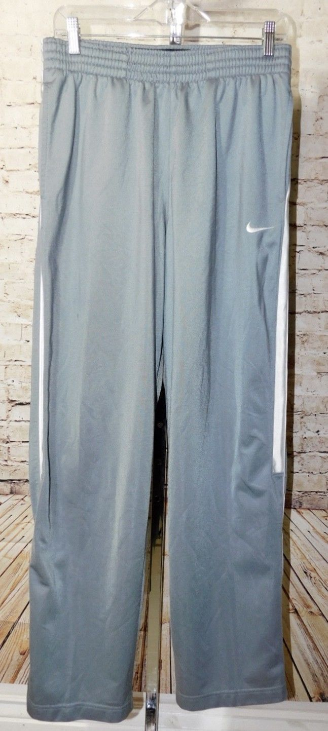 Nike Basketball Gray White Athletic Warm-Up Workout Pants Size: M