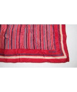 Echo burgundy red blue striped square head or shoulder wrap scarf silk p... - $7.19