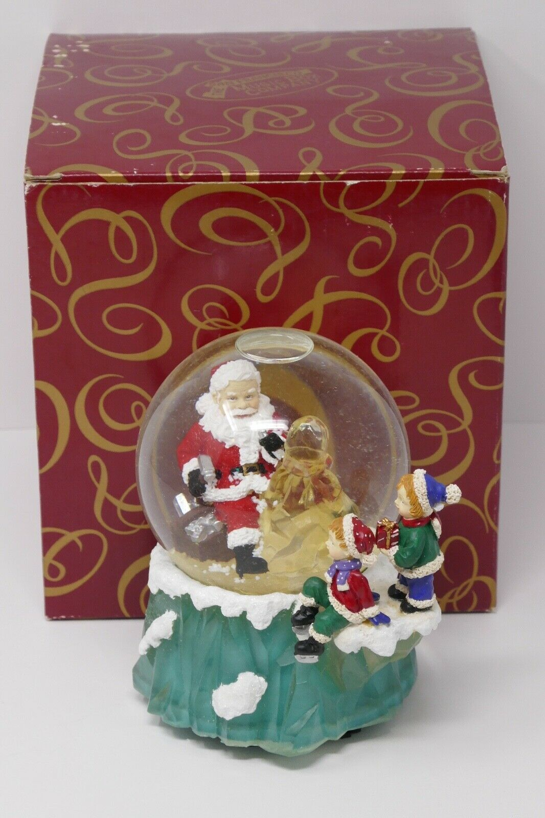 Primary image for The San Francisco Music Box Company Santa Carving Tree Waterglobe Deck The Halls