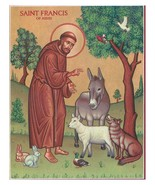 """St. Francis & the Animals Icon - 11"""" x 14"""" Wooden Plaques With Lumina Gold - $81.95"""