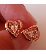 Morganite & Diamond Women's Heart Earrings Set in 925 Silver Jewellery R... - $203.18