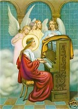 Catholic Print Picture ST. CECILIA w/ Angels MUSIC - ready to frame - $14.01