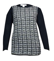 NEW Charter Club Size 0X Plus Size Women's Tweed-Front Long Sleeve Sweater - $28.00