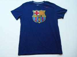 Nike FC Barcelone T-Shirt Hommes TAILLE L Football Bleu Graphique Slim Fit Foot - $16.55