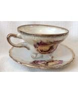 Vintage Lusterware 3 Footed Teacup & Saucer W/ Pears - $14.01