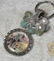 True Love Bottle Cap Keychain Crystal Beaded Handmade Split Key Ring New - $14.54