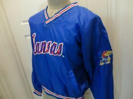 Vtg Sewn Blue Locker Line Kansas Jayhawks Ncaa V-Neck Nylon Jacket Womens M Nice - $43.07