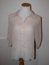 Dolled Up Tan Shirt Blouse Lace Sheer Top Size L th - $12.99