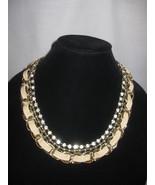 Necklace Bib Gold Chain 3 Strands Rhinestones Gold Beads Chain Beige Taramanda - $21.99