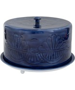 """13"""" BLUE EMBOSSED  METAL CAKE STAND WITH COVERED DOME LID - $78.16"""