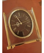Seiko Desk Mantle Clock Gold Brass QQZ337S Tested Working Roman Numerals - $29.65