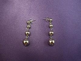 Avon Silvertone Drop Dangle Earrings Signed Pierced Ears Ball Globe Design - $17.82