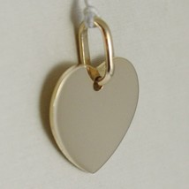 Yellow Gold Pendant 750 18k Flat Heart, incidibile, Length 1.6 CM, ITALY image 2