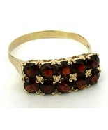 Vintage Rare Imperial Russian 14K Gold 56 Garnet Ring FA signed - $868.15