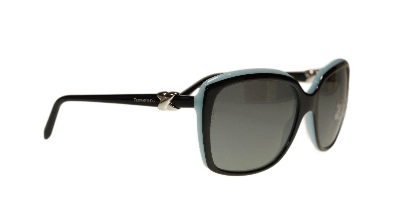 35574594ee52 Tiffany TF4076 80553F Top Black Blue Square Women s Sunglasses 58mm  Authentic