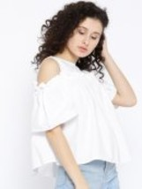 Cold Shoulder Pleated Top - $22.00