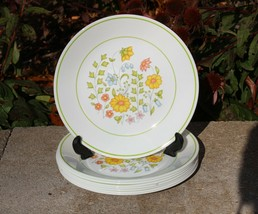 "Corelle Meadow 8 1/2"" Lunch Salad Plates Dishes Vintage Retired Set of 8 - $22.99"