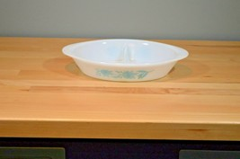 Vintage Glasbake by Jeanette Blue Thistle Divided Casserole Vegetable Dish - $8.99