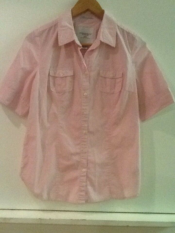 American Eagle Outfitters size 8 pink white Striped button up shirt top blouse - $15.95