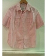 American Eagle Outfitters size 8 pink white Striped button up shirt top ... - $15.95