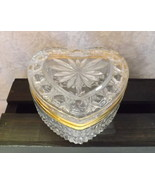 Trinket Box Glass Heart-Shaped with Gold Tone Trim - Large - $21.99