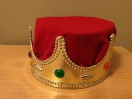 Bambini Cornetta Reale Re Regina Rosso & Oro con Pietre Crown Cappello C... - $22.82 CAD