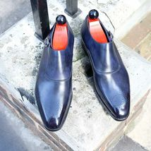 Handmade Men's Blue Leather Toe Brogues Monk Strap Oxford Leather Shoes image 1