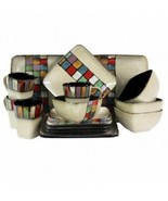 Elama Color Melange 16 Piece Stoneware Dinnerware Set for 4 - $149.24