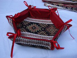 Handmade Fabric Bread Six-Sided Basket, Armenian Ornament Folding Storag... - $9.50