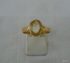 vintage 18kt gold ring citrine gemstone ring handmade gold jewelry - $612.81